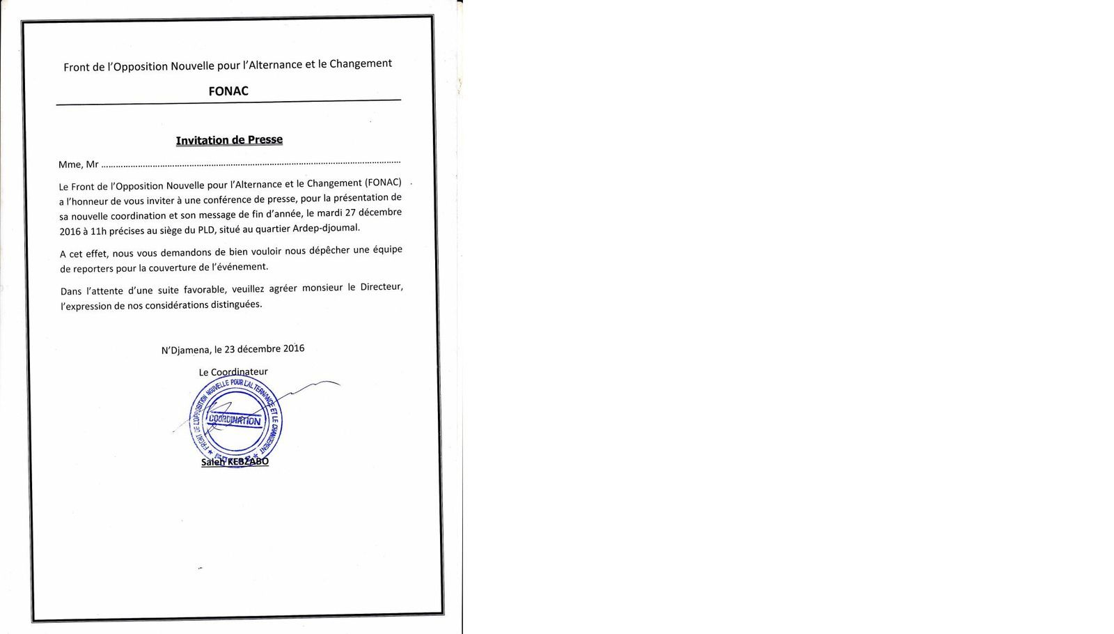 Tchad: le FONAC se recompose et invite à un point de presse