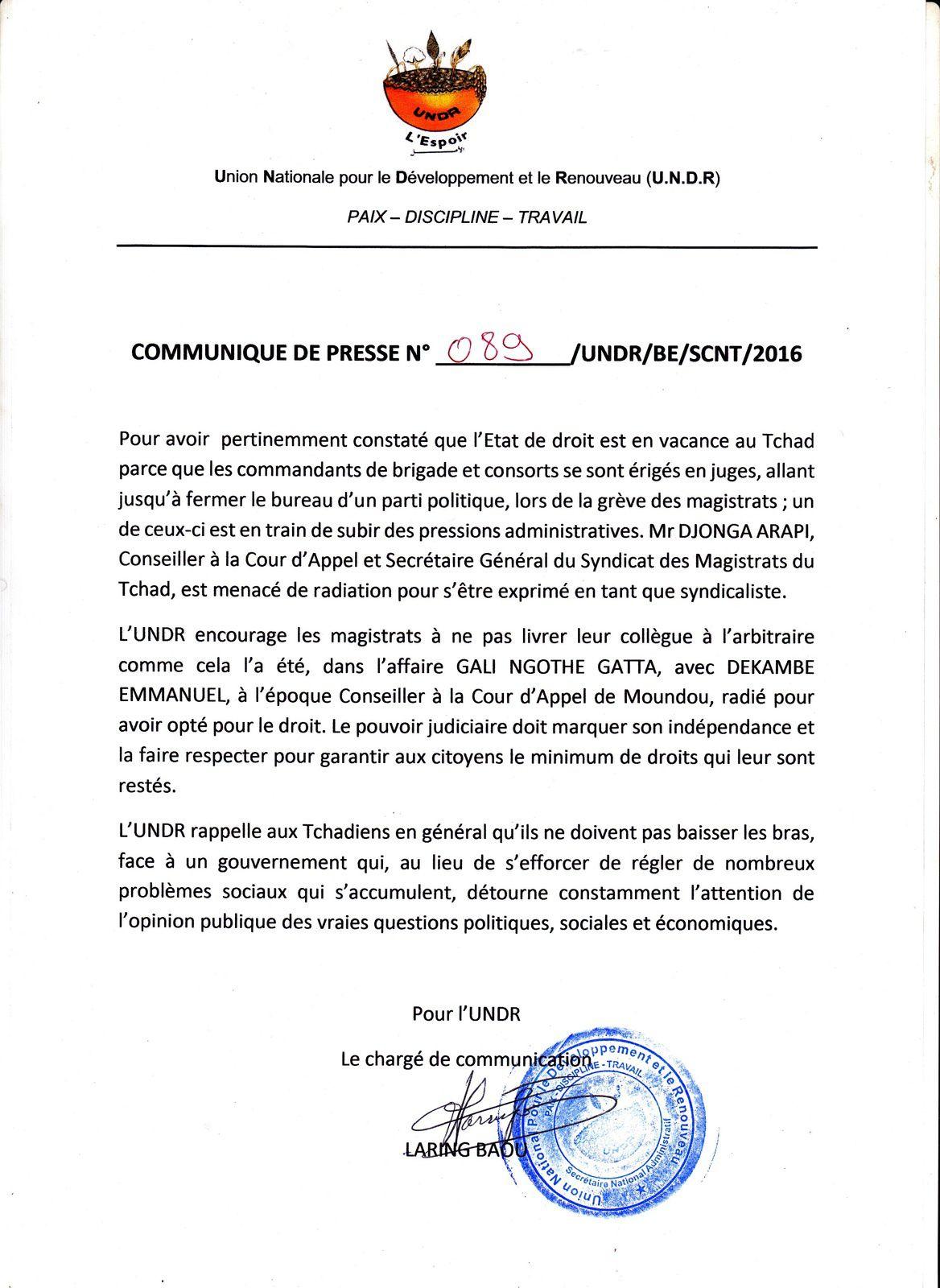 L'UNDR solidaire au magistrat Djonga Arapi et appelle les Tchadiens à ne pas baisser les bras