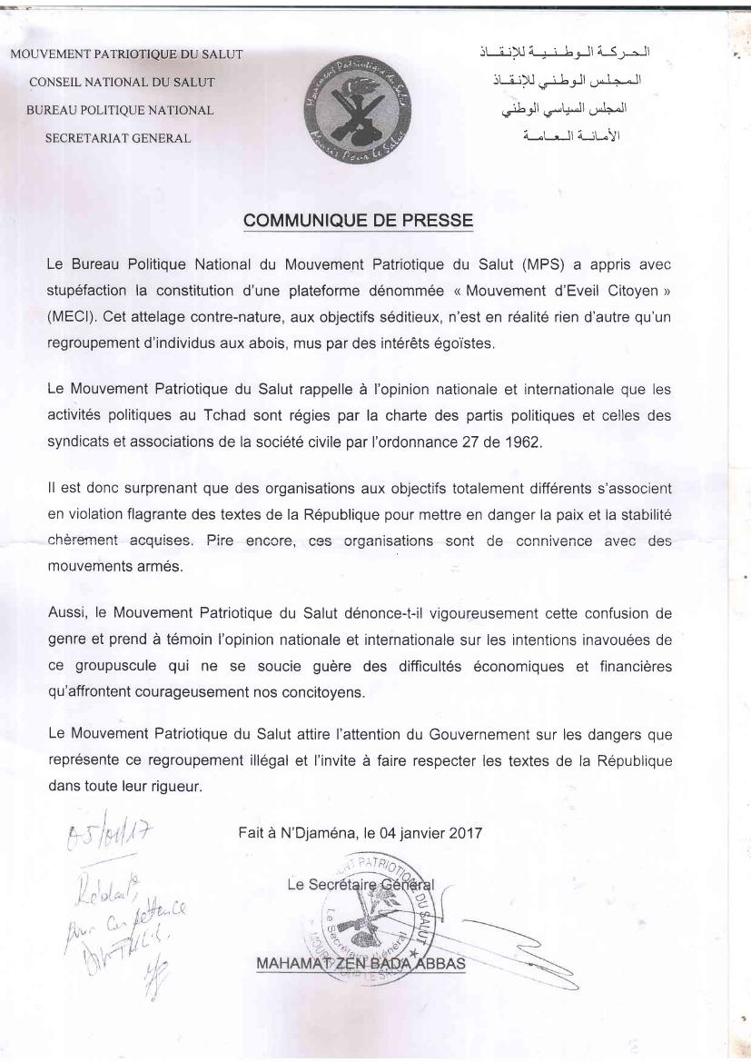 Tchad: réaction du MECI au MPS