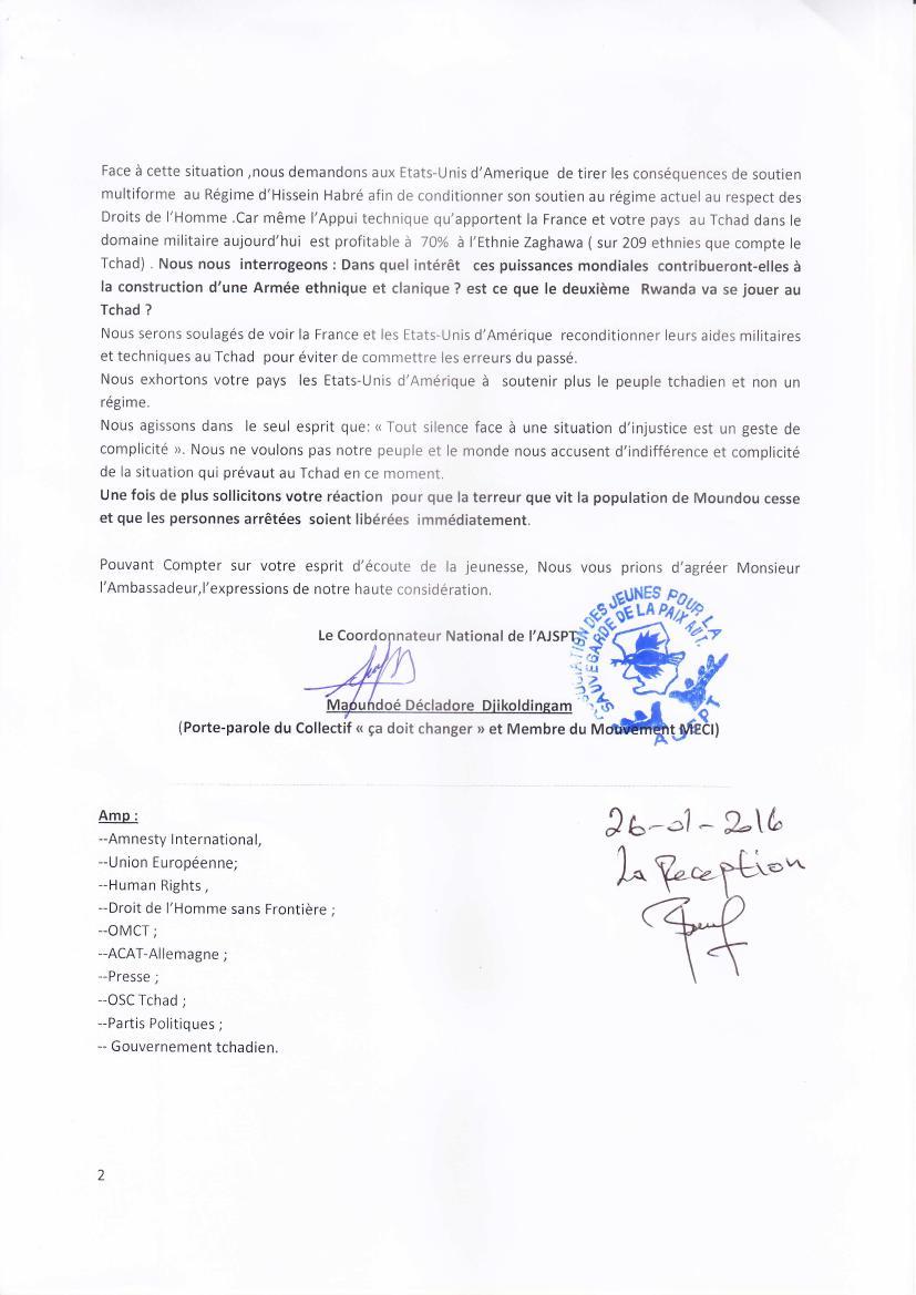 Plusieurs responsables politiques arrêtés au Tchad: l'AJSPT interpelle