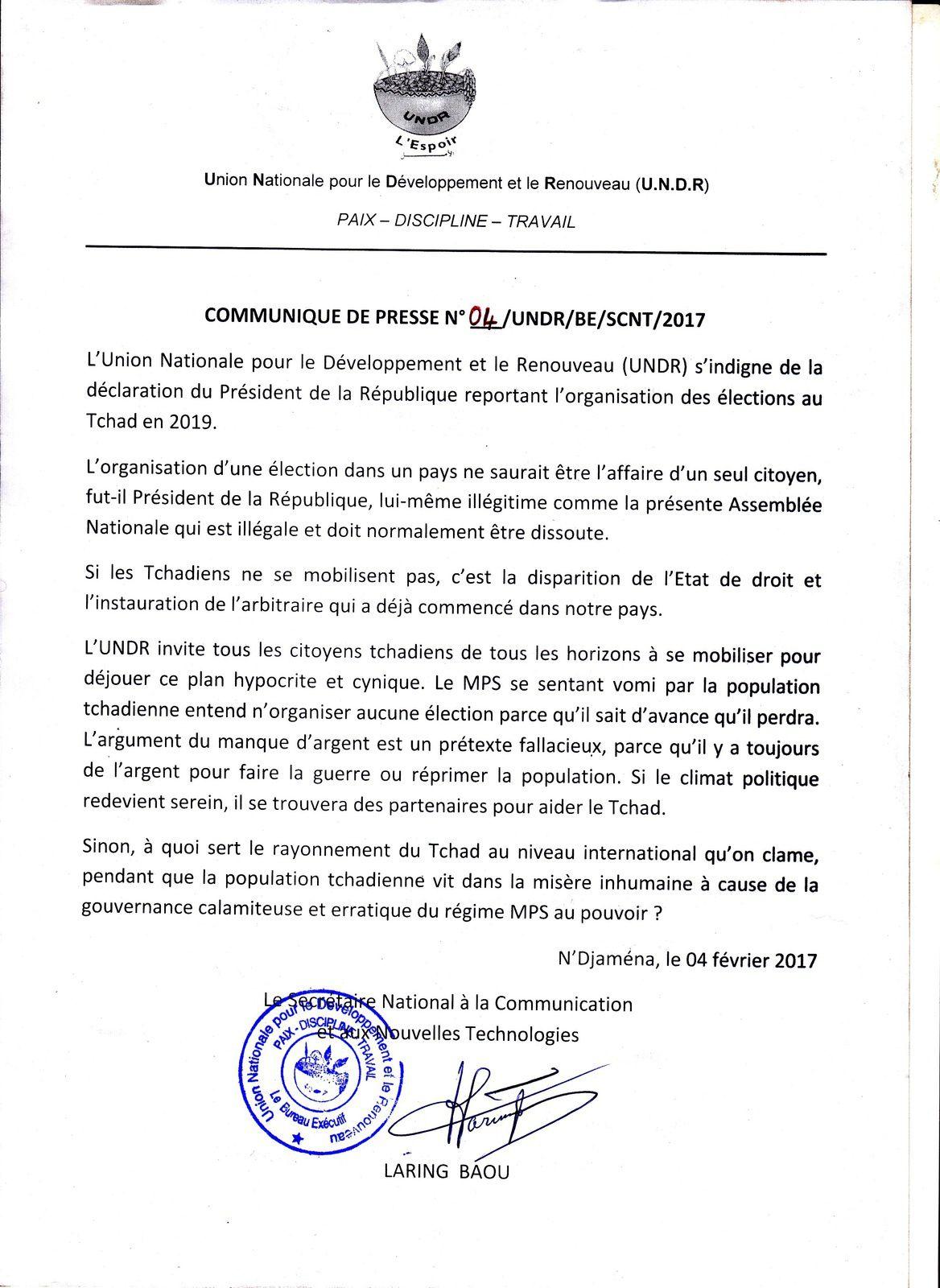 Le report des législatives au Tchad, indigne l'UNDR (communiqué)