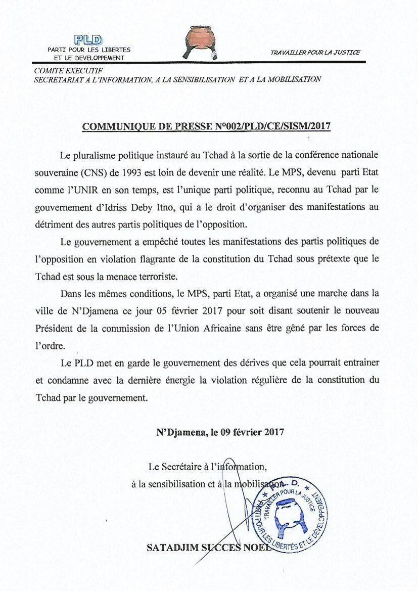 """PLD"""" le pluralisme politique instauré en 1993, est loin d'être une réalité au Tchad""""(communiqué)"""
