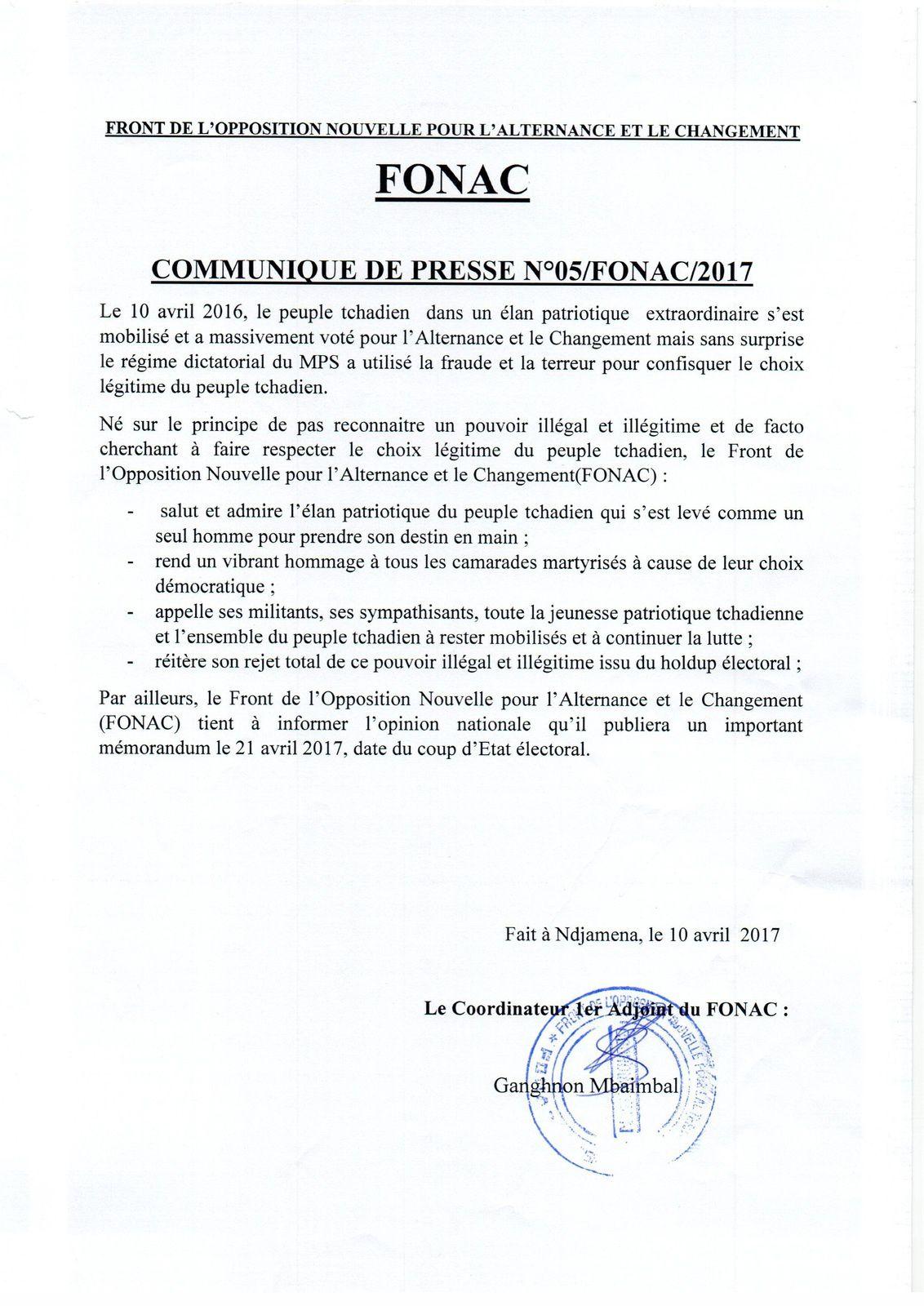 Tchad:le FONAC  dénonce les dérives dictatoriales suite au harcèlement du Dr Alhabo