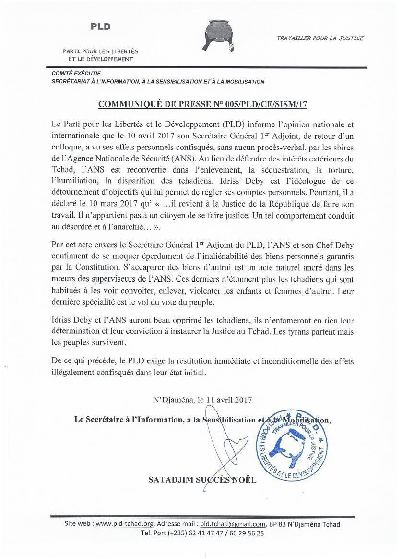 Le PLD exige la restitution immédiate les dossiers confisqués du Dr Mahamat Alhabo