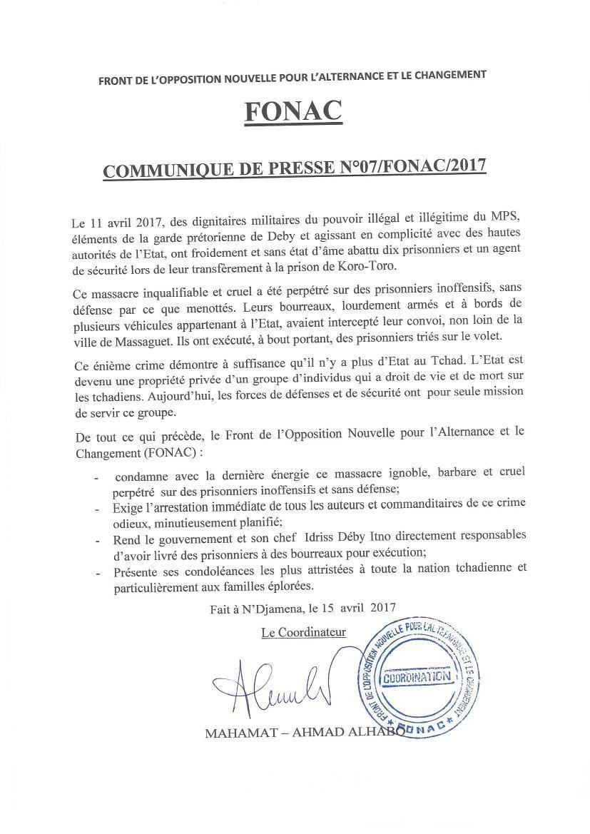 Des prisonniers inoffensifs tués sauvagement au Tchad: le FONAC condamne avec fermeté