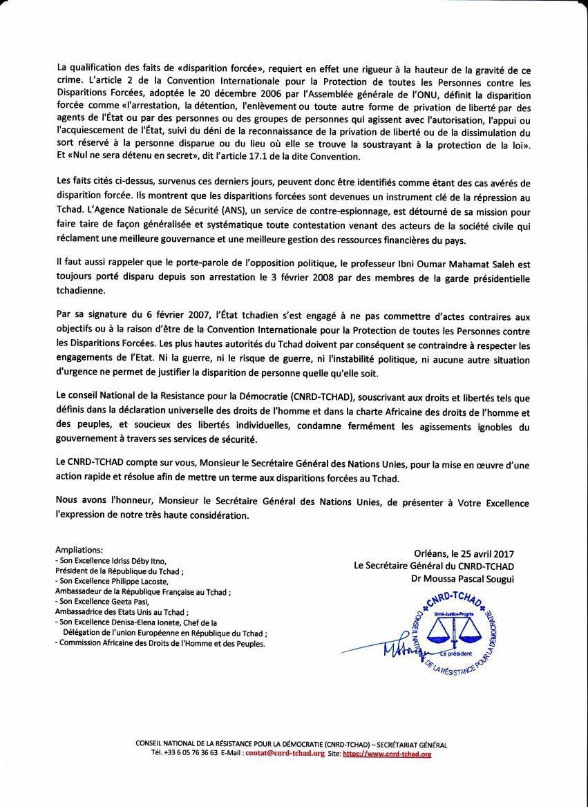 Le CNRD interpelle l'ONU sur le Tchad