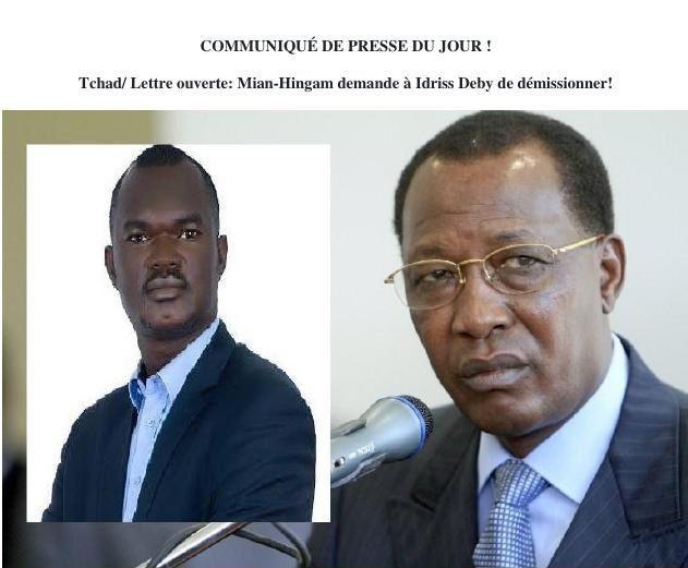 Tchad/ Lettre ouverte: Mian-Hingam demande à Idriss Deby de démissionner!
