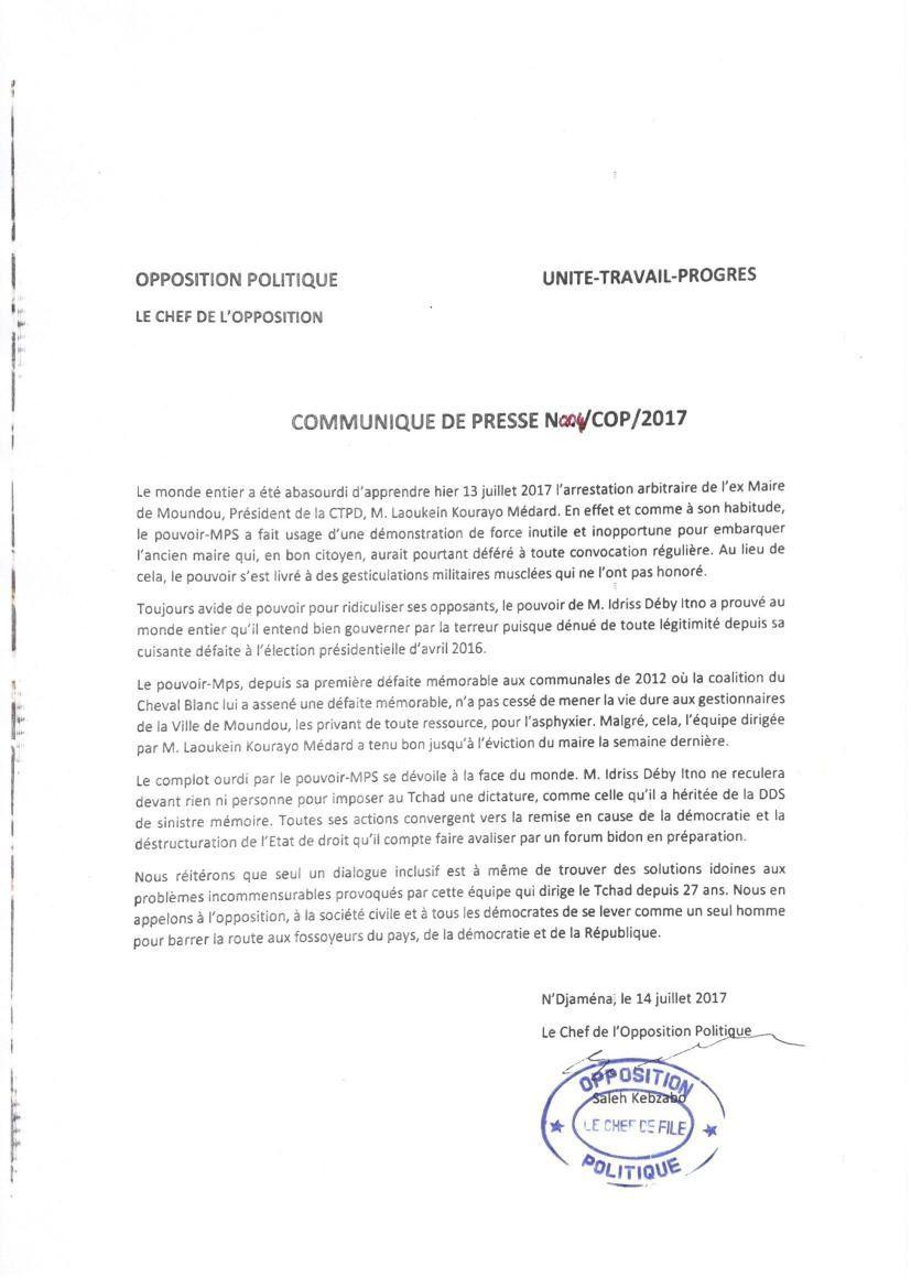Gesticulations militaires musclées contre le Maire de Moundou: Saleh Kebzabo s'insurge et appelle à un débat politique non exclusif