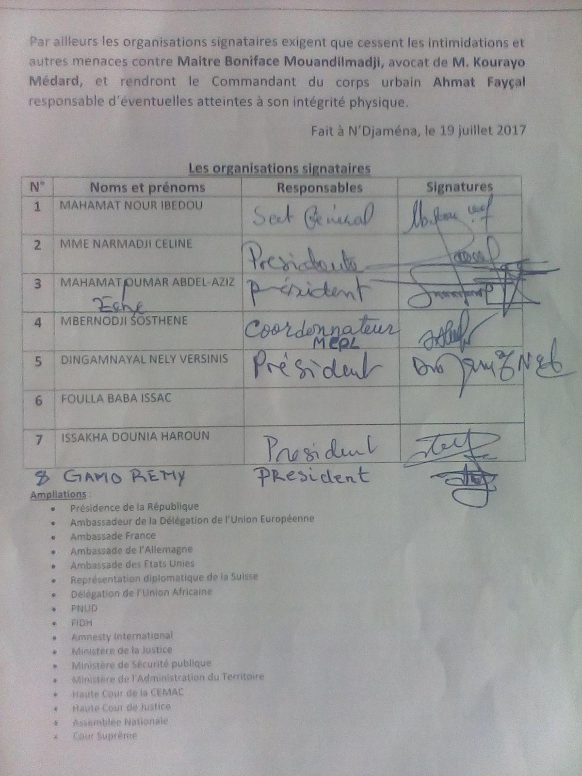 Acteurs politiques et associatifs harcélés au Tchad: les OSC mettent en garde Ahmat Fayçal, commandant urbain de Moundou