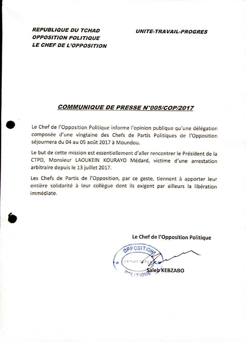 L'opposition tchadienne à Moundou en solidarité à Laokein Médard, ancien Maire destitué et arrêté