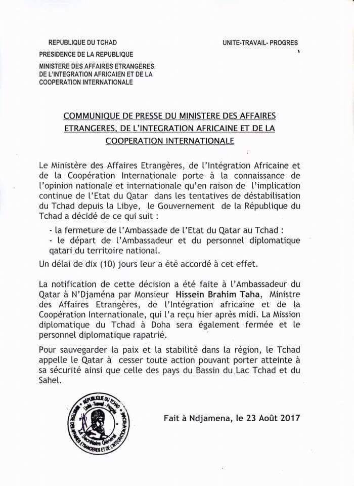 Le Tchad accuse le Qatar de le déstabiliser (commmuniqué de presse du M.A.E du Tchad )