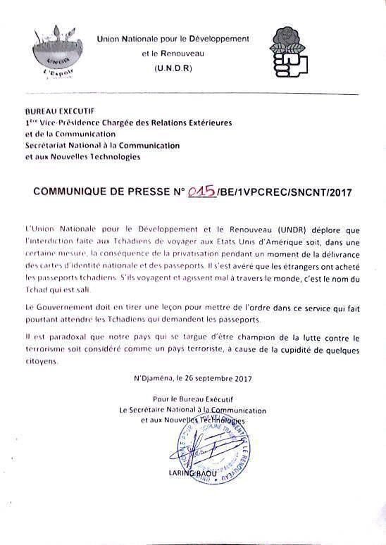 """Le Tchad """"blacklisté"""": l'UNDR déplore  !"""