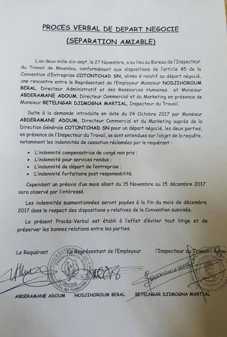 COTON TCHAD SN: le grand voleur Abdramane Adoum Hassan planifie sa fuite