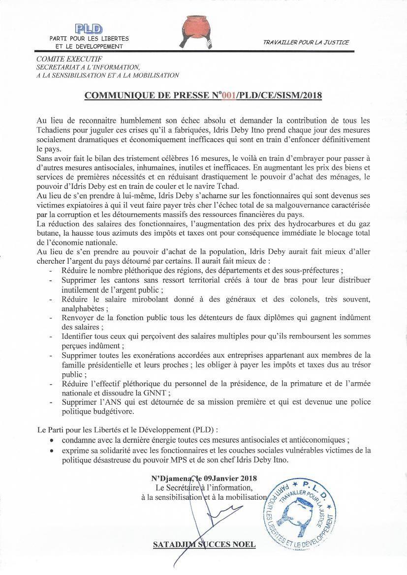 Tchad: le PLD demande à Idriss Deby d'assumer pleinement son échec politique et économique