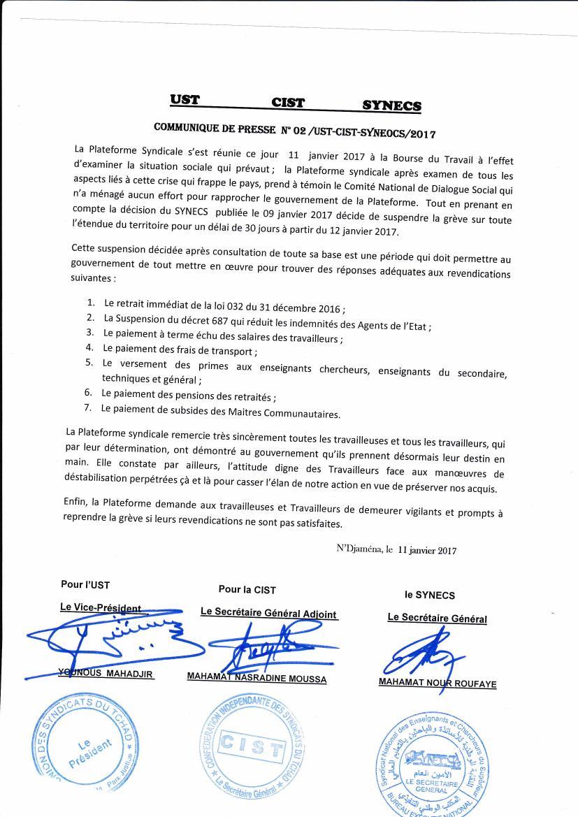 """Malgré l'arrêté d'interdiction ministériel de la marche au Tchad, la plateforme syndicale persiste et signe. """"Nous marchons le 25 janvier"""""""