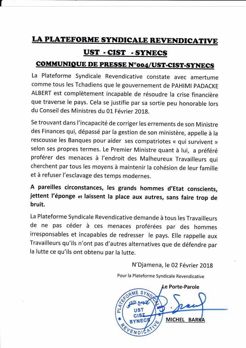 Tchad: l'UST demande aux travailleurs de ne pas céder aux menaces et autres intimidations du régime