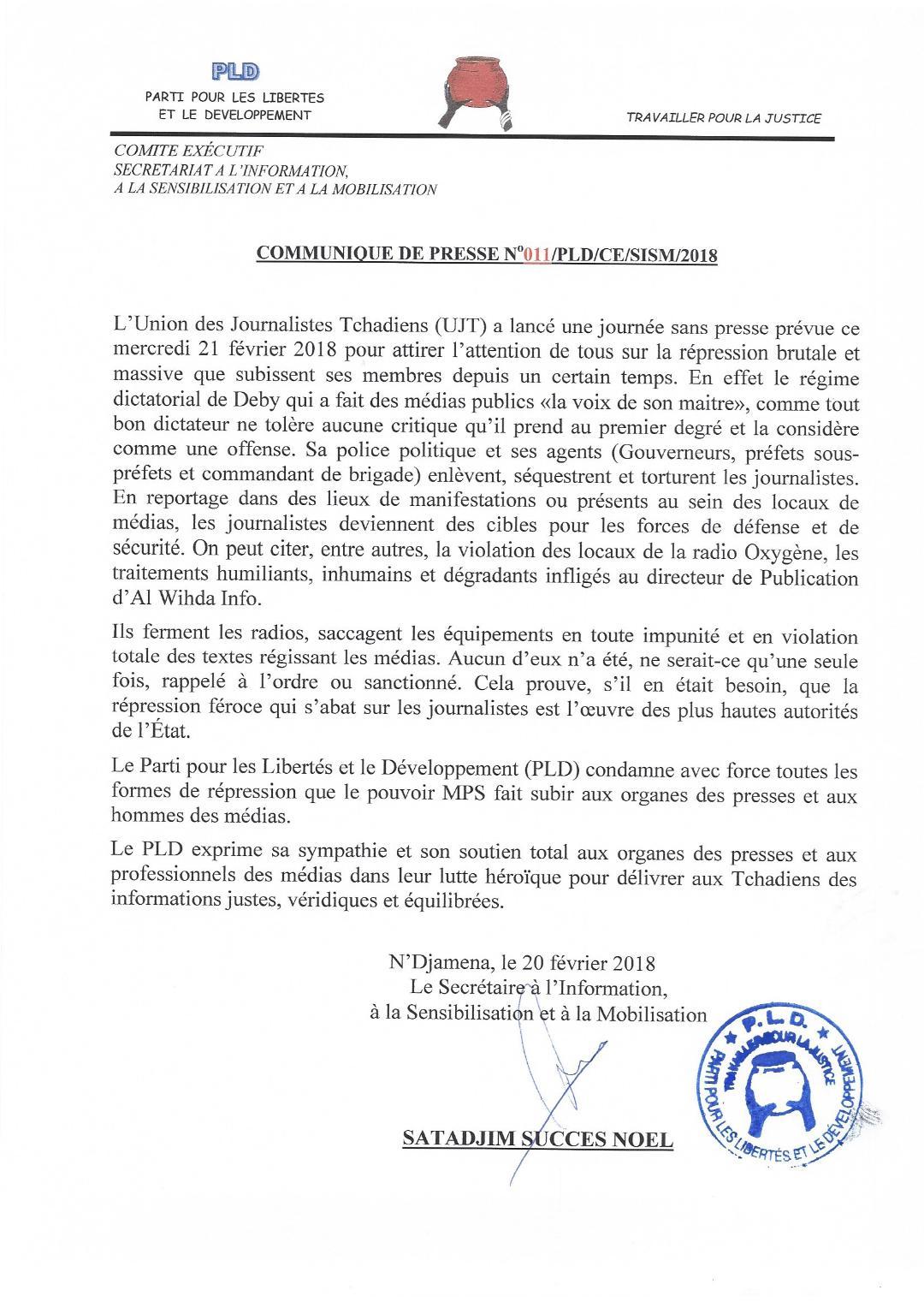 Tchad: Le PLD solidaire de l'UJT