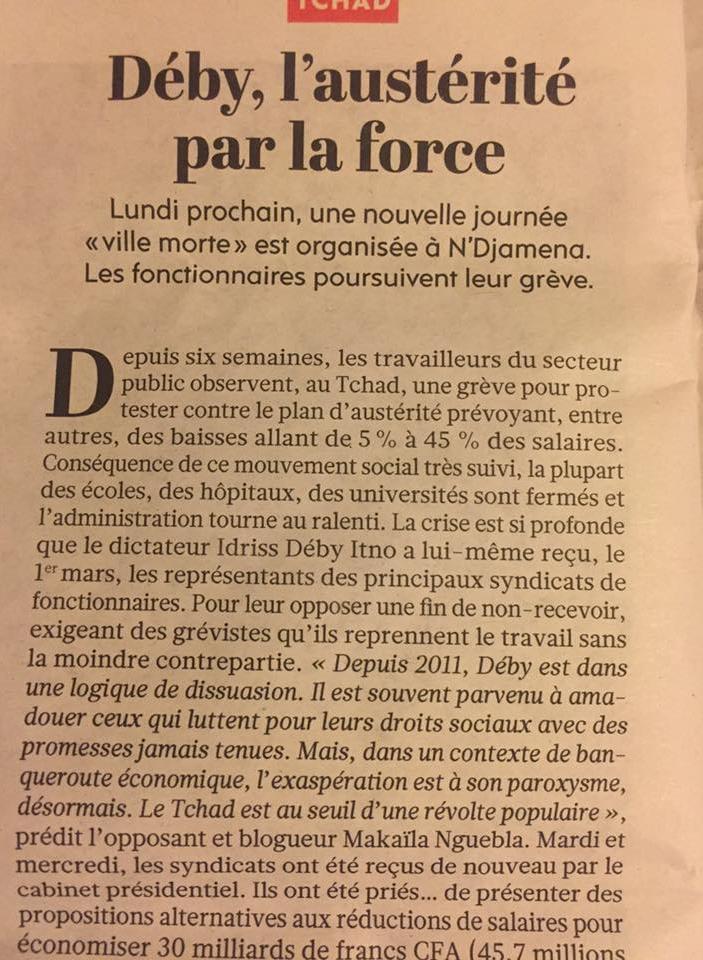 Tchad: Déby, l'austérité par la force dans le journal Humanité