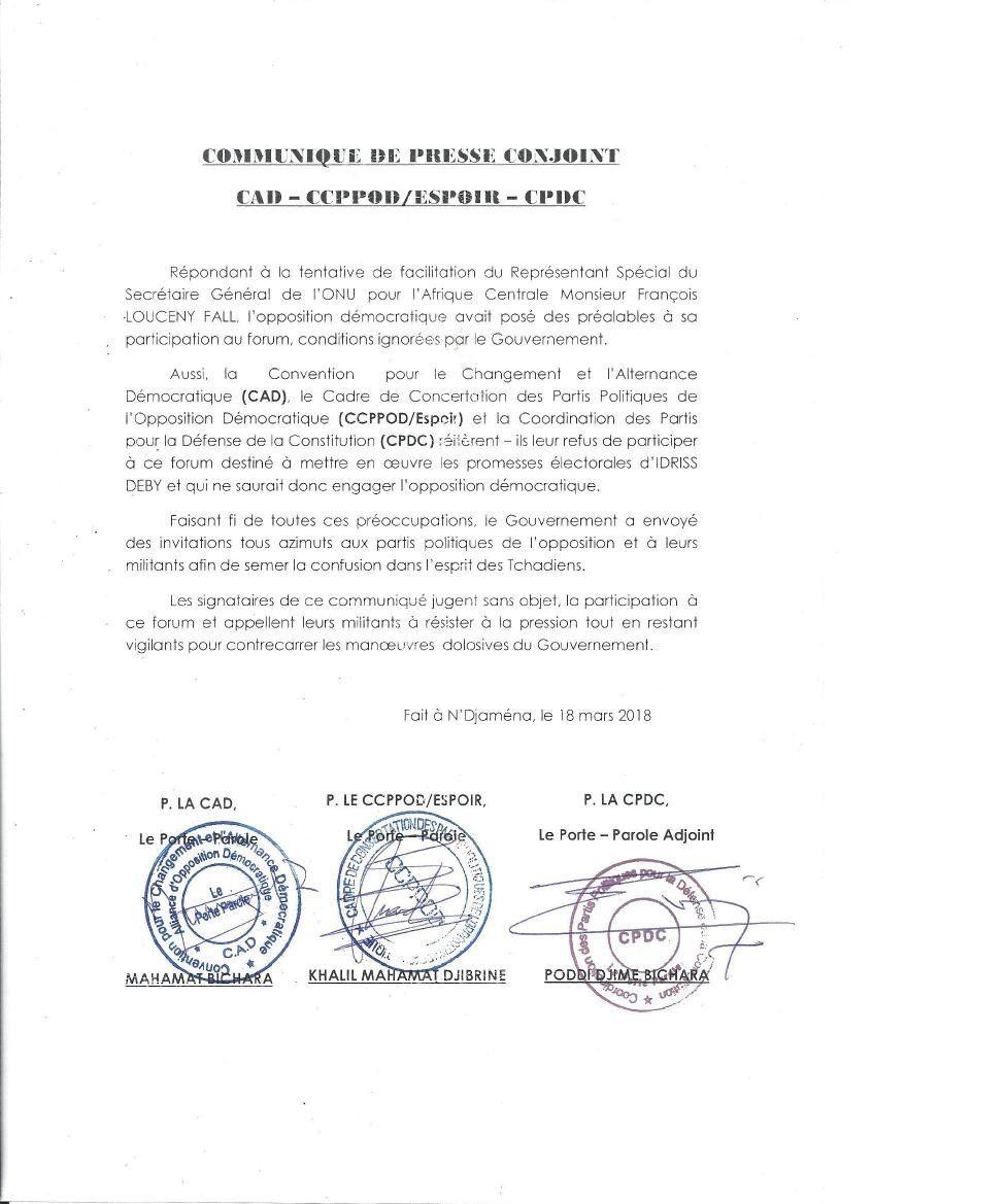Forum au Tchad: trois coalitions de l'opposition réitèrent à Idriss Deby leur refus de participer