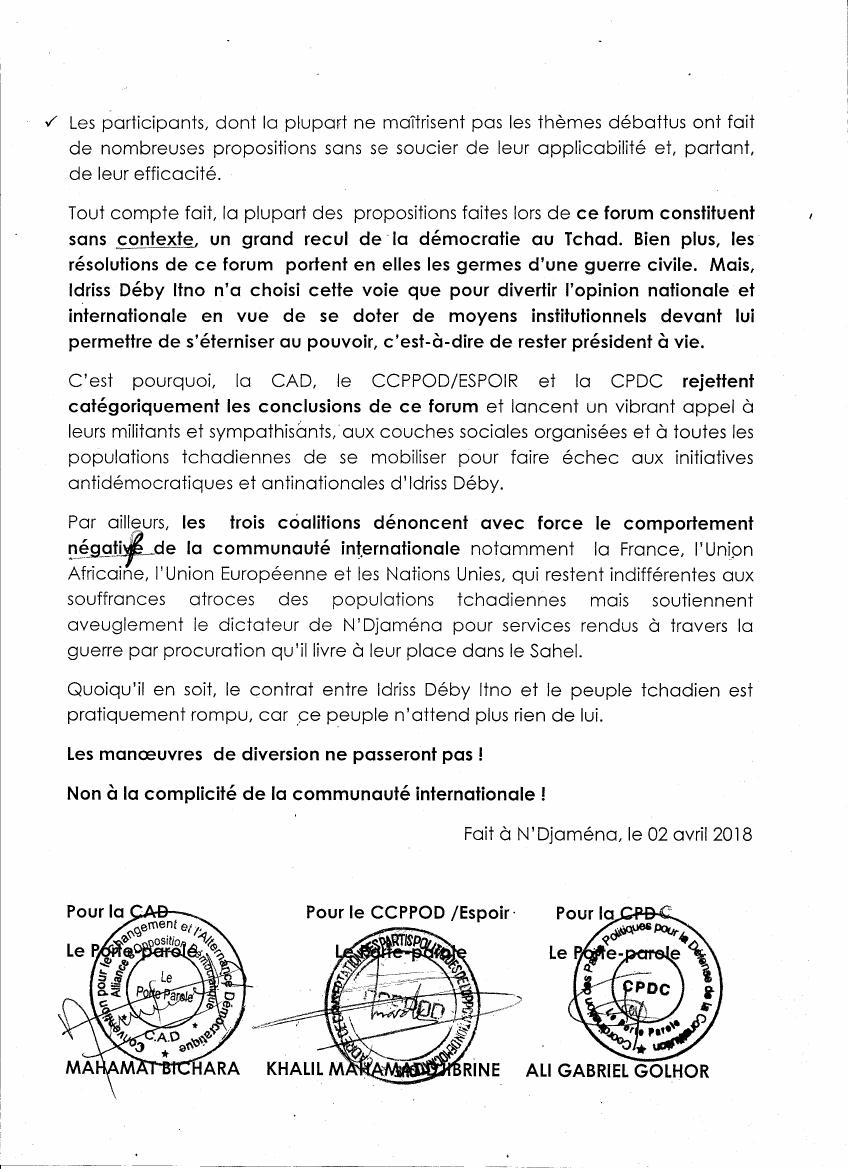 Tchad: après avoir rejeté le forum, la CPDC dit non à la complicité de la communauté internationale