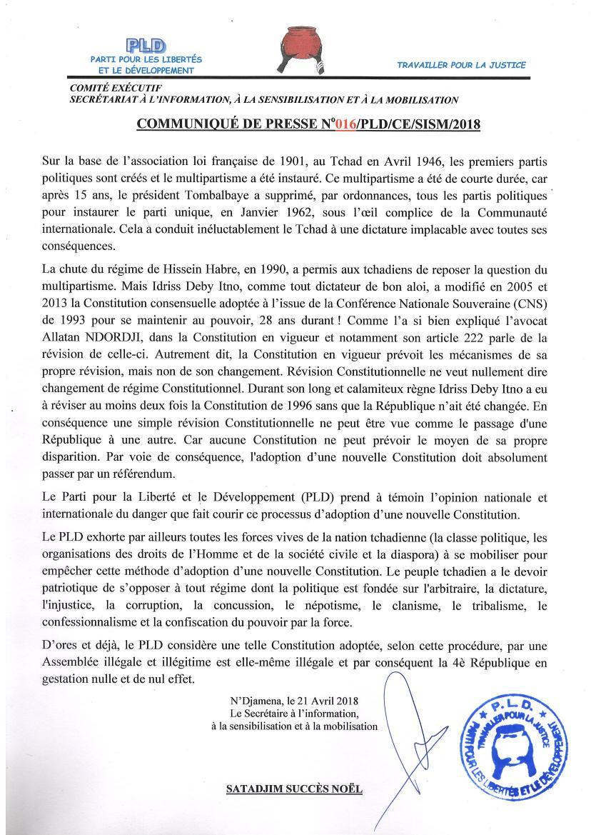 Le PLD considère d'ores et déjà nulle et de nul effet le projet de la 4ème République en gestation au Tchad