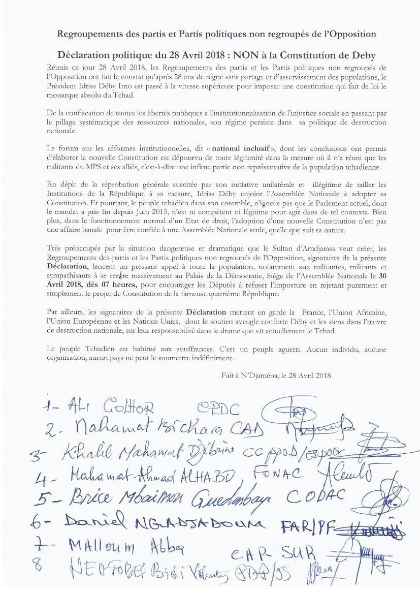 Déclaration : l'opposition tchadienne dit NON à la constitution de Deby