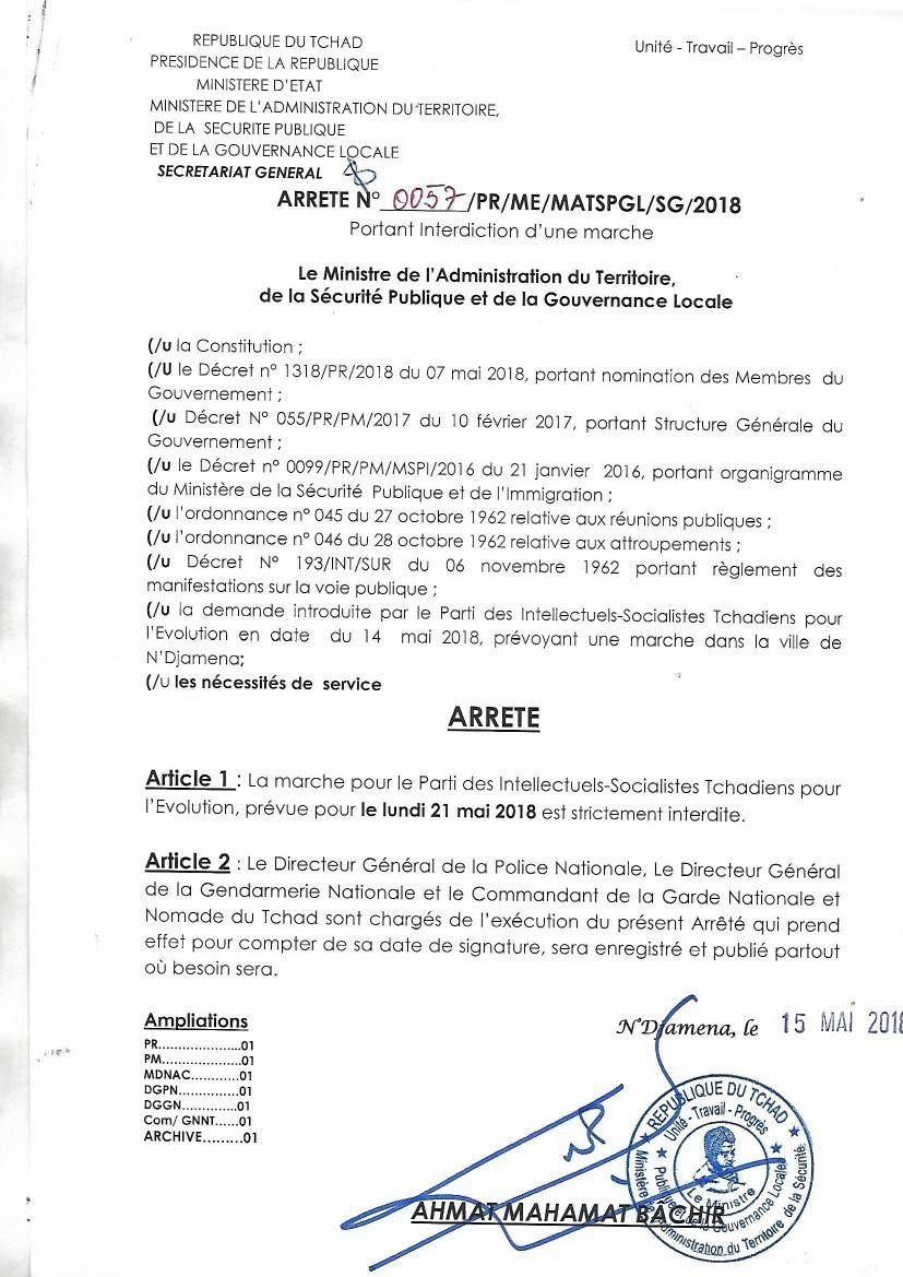 Marche du parti PISTE, interdite au Tchad, son lead échappe à une tentative d'enlèvement