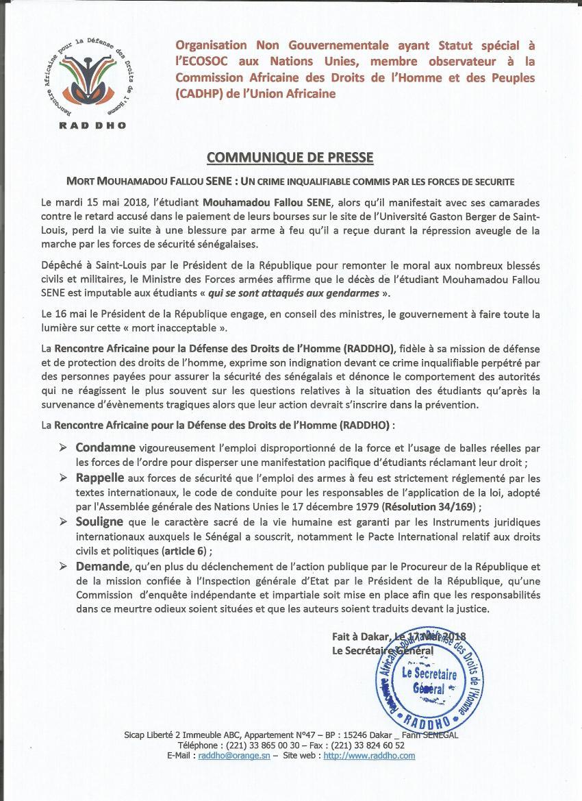 Mort d'un étudiant au Sénégal: la RADDHO juge un crime inqualifiable