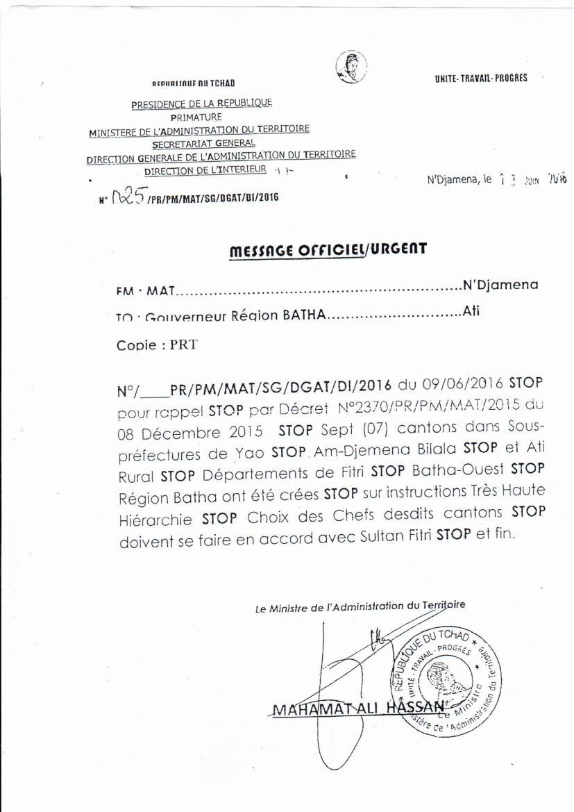 Les manigances du gouverneur de Ati dans les cantonnat de Fitri au Tchad