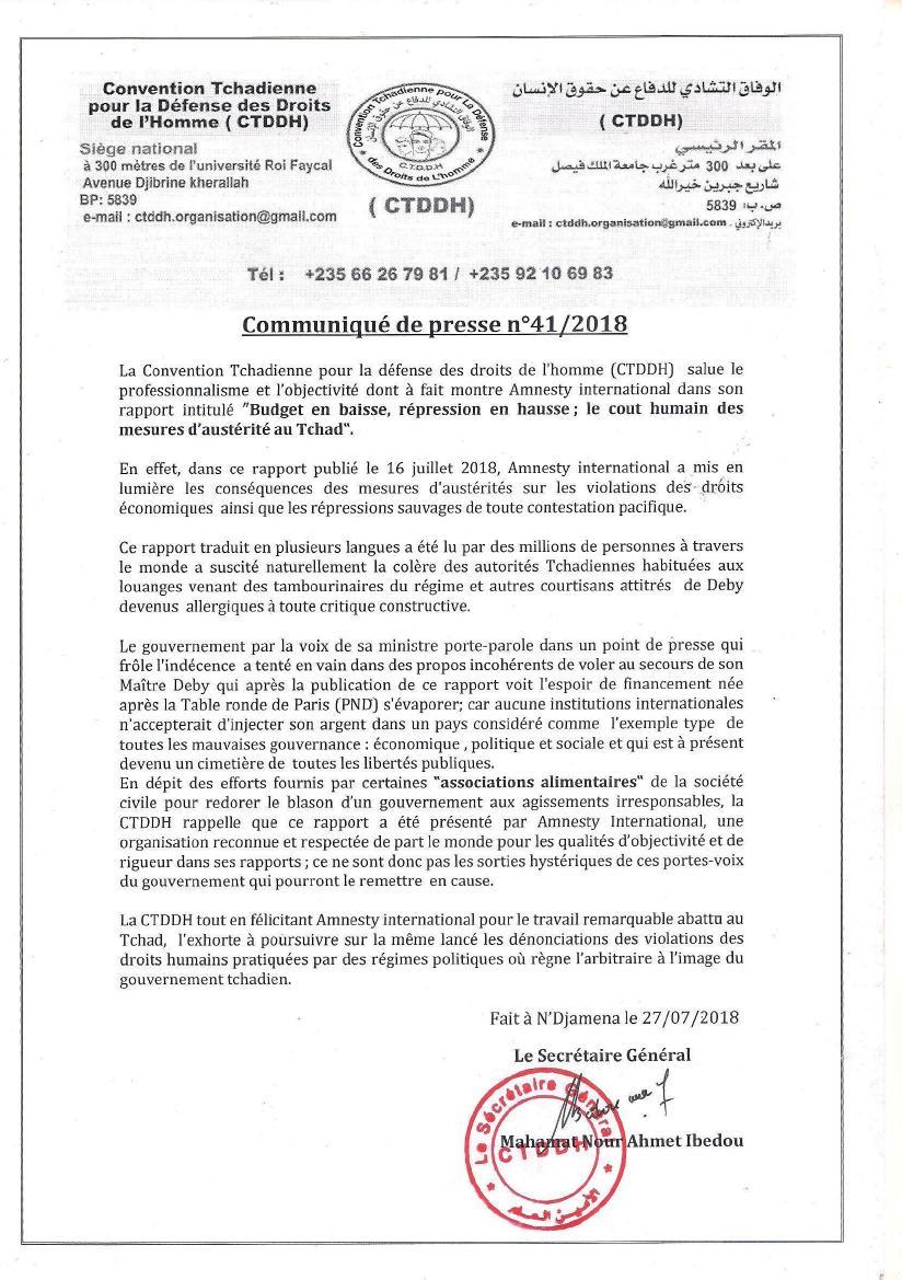 La Convention Tchadienne pour la Défense des Droits de l'Homme félicite Amnesty International pour son rapport sur le Tchad