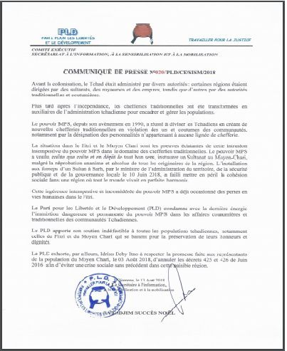 Le PLD condamne l'immixtion dangereuse du pouvoir MPS dans les chefferies traditionnelles au Tchad
