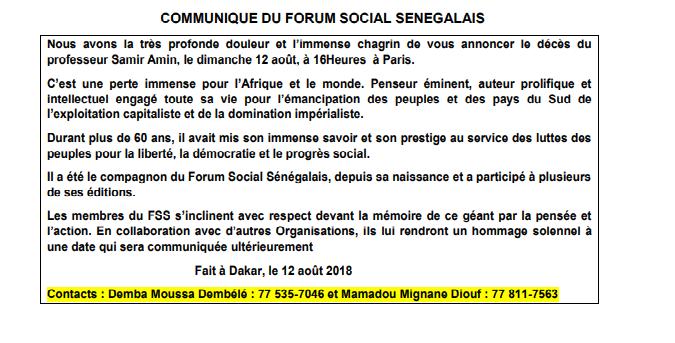 Le Forum Social Sénégalais s'incline devant la mémoire du Pr Samine AMINE, décédé dimanche à Paris