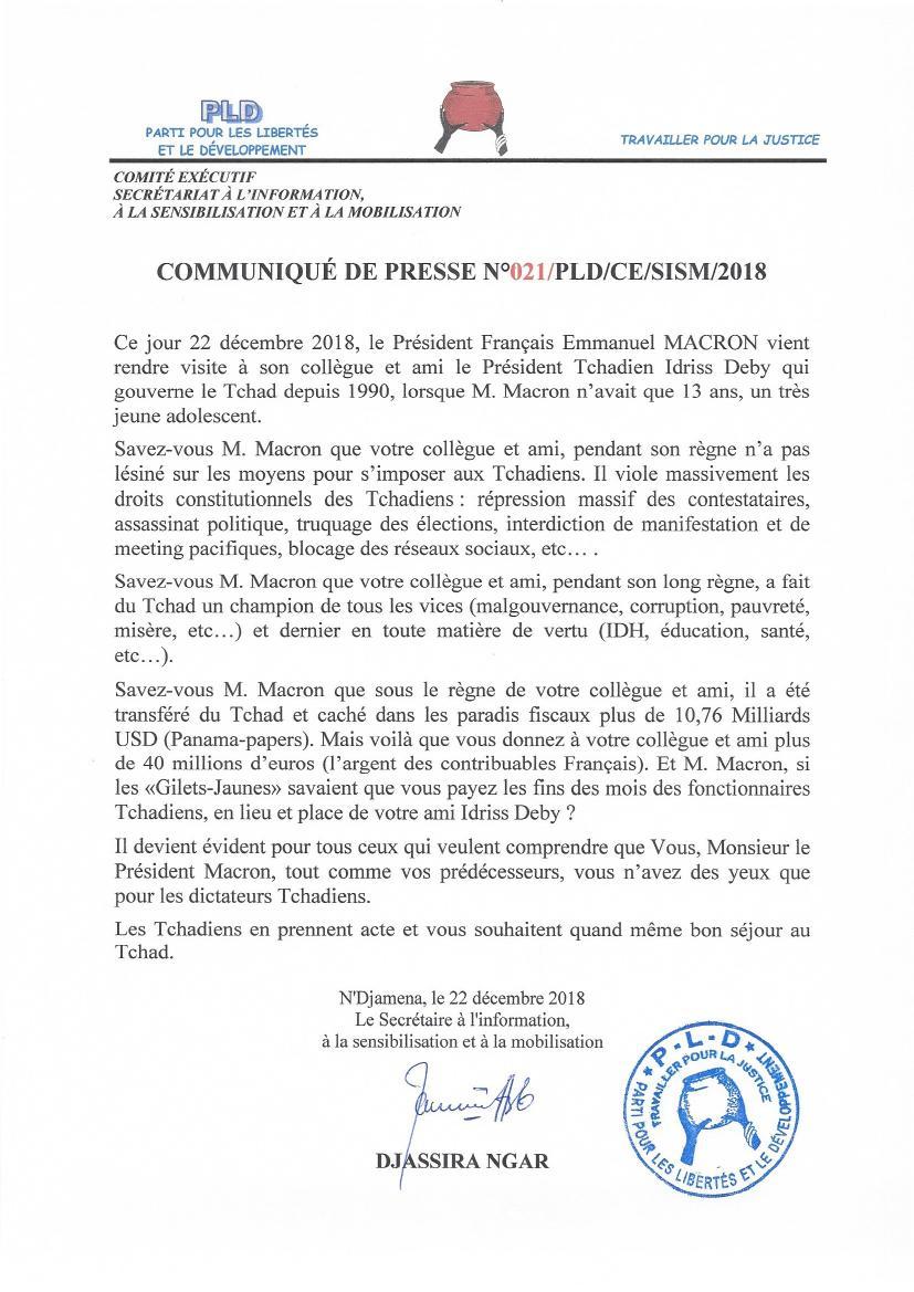 Visite de Macron au Tchad: le PLD rappelle la répression massive des contestataires