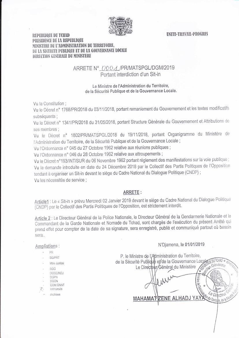 Sit-ing de l'opposition interdit au Tchad