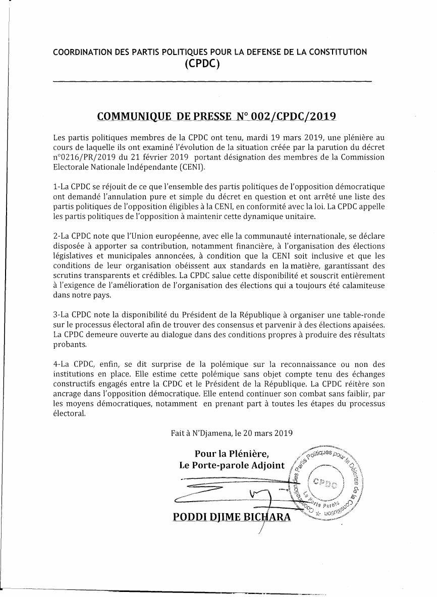 Tchad: la CPDC appelle toute l'opposition à une dynamique unitaire
