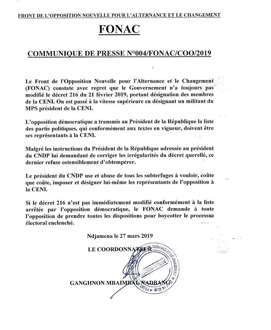 Tchad:  le FONAC dénonce la désignation unilatérale d'un militant du MPS à la tête de la CENI