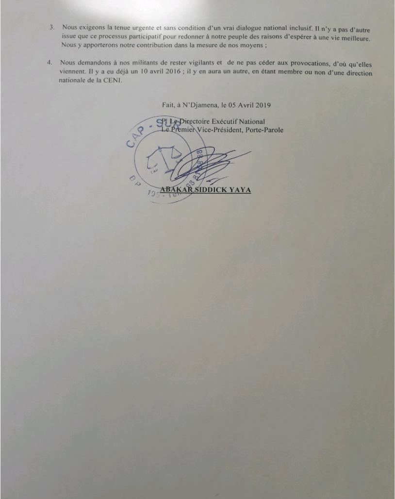 Tchad: le parti CAP-SUR condamne la mise en scène de la CENI et appelle ses militants à la vigilance