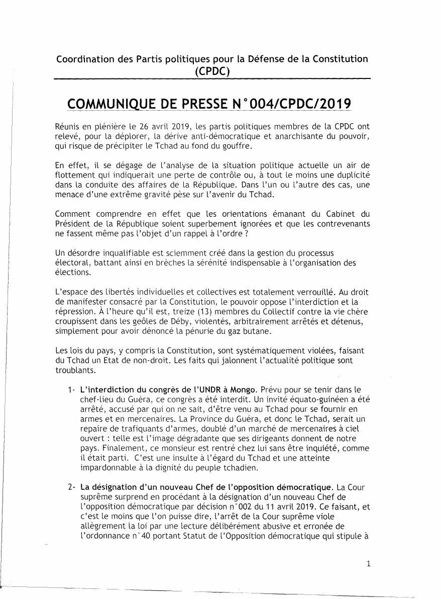 Dérives dictatoriales au Tchad, la CPDC se réserve le droit d'entreprendre des actions citoyennes pour préserver la démocratie et les libertés