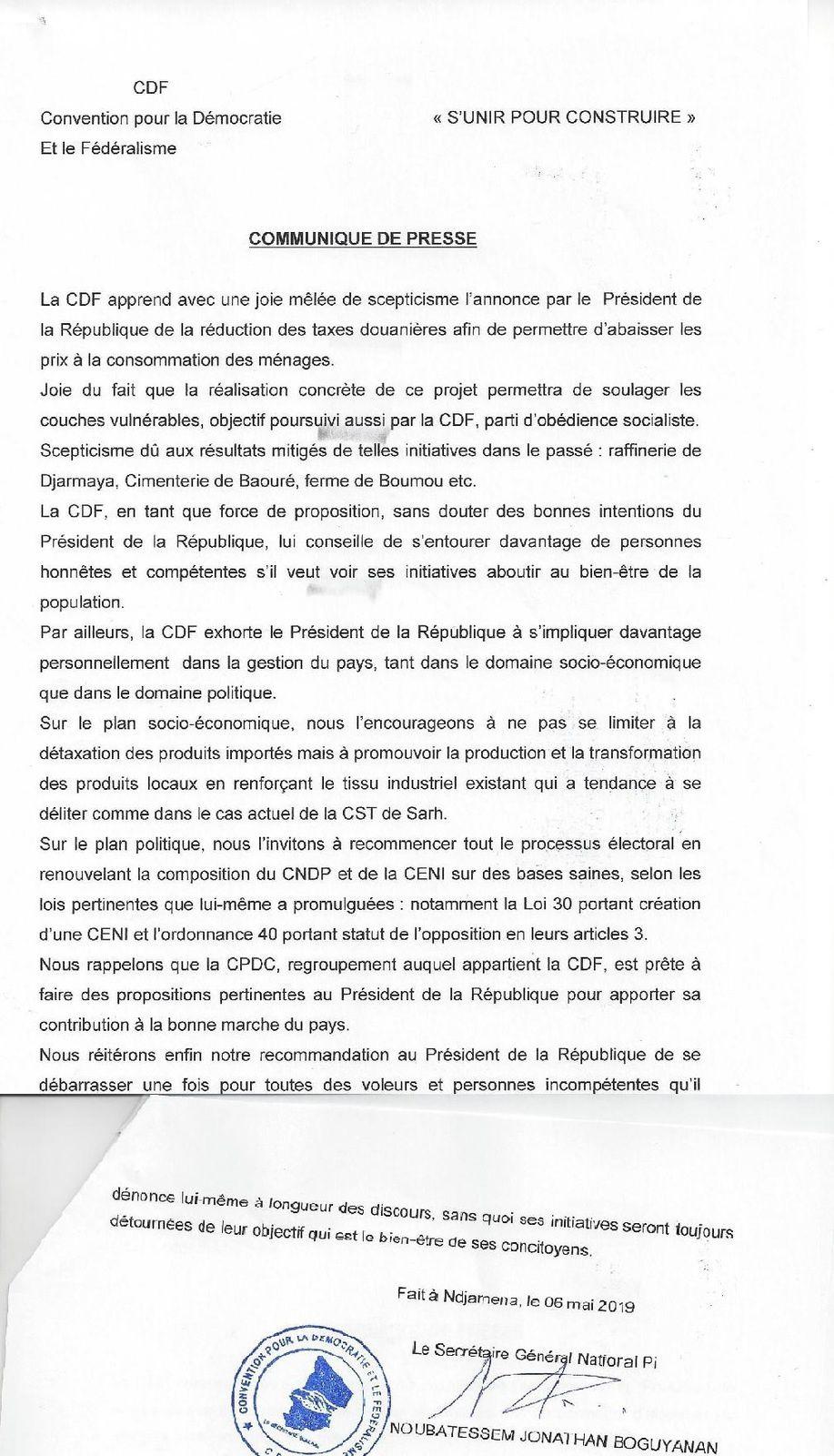 La CDF appelle Idriss DEBY à s'investir personnellement sinon ses promesses sont nulles