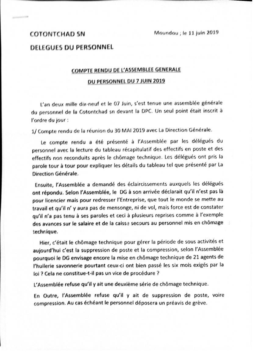Licenciements abusifs du personnel de la CotonTchad SN: colère et indignation
