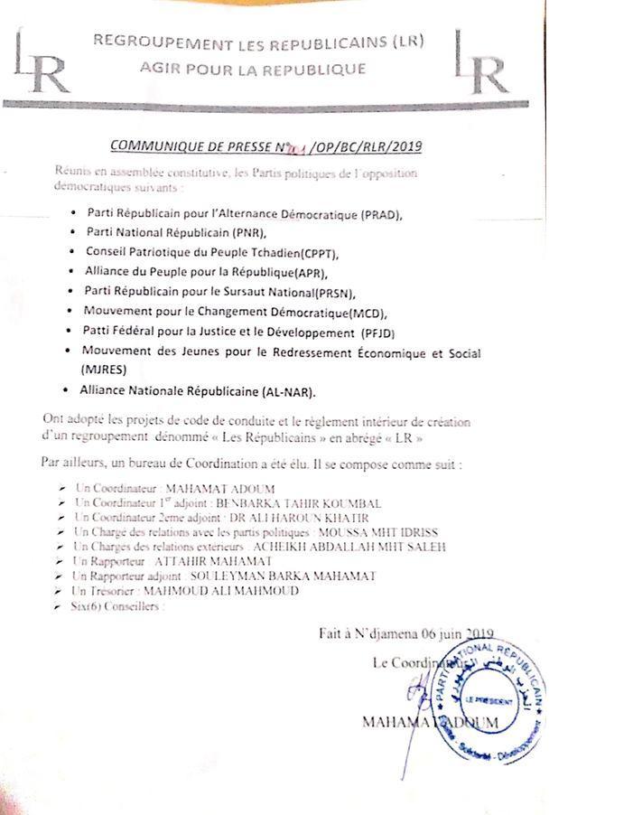 Au Tchad, un nouveau regroupement politique dénommé LR vient d'être lancé