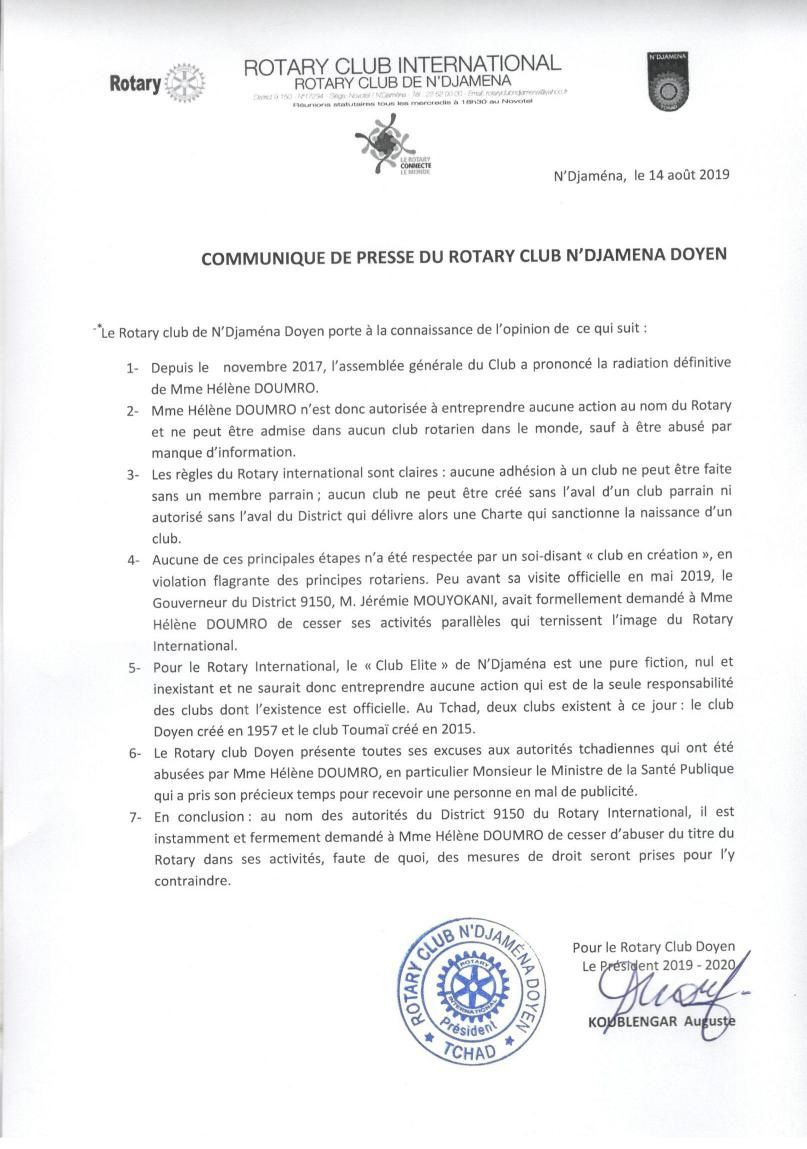 Tchad: Madame HELENE DOUMRO, radiée définitivement du ROTARY CLUB INTERNATIONAL de Ndjaména