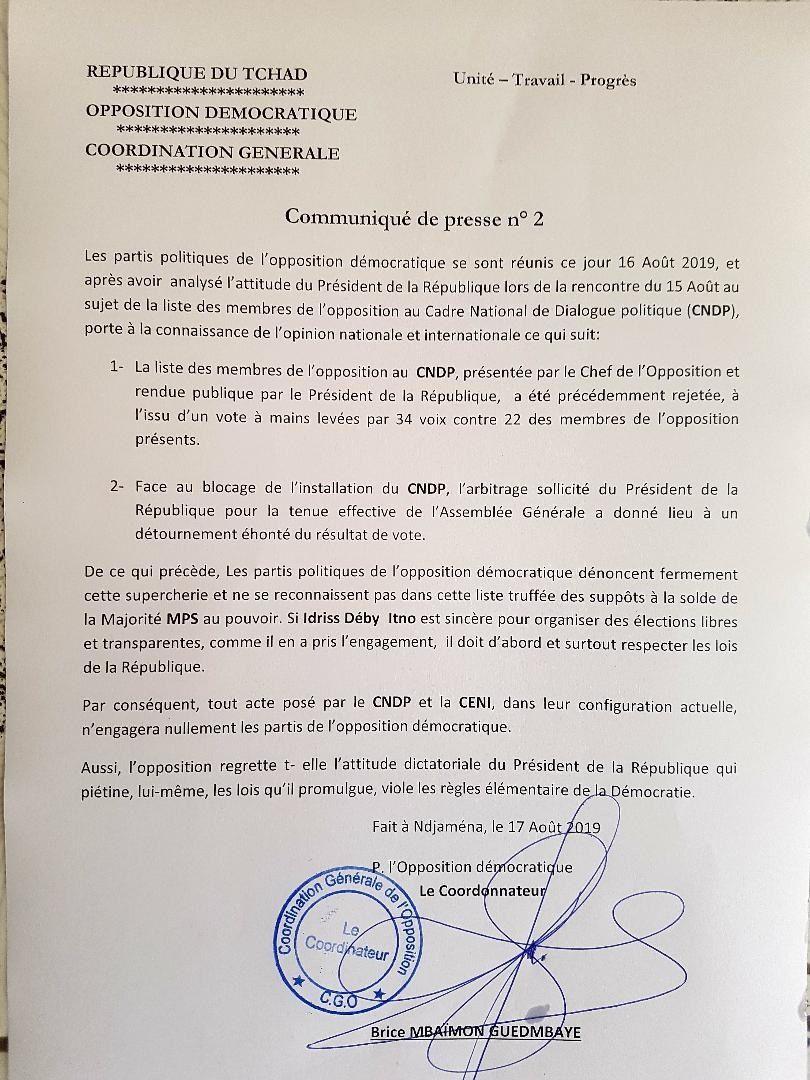 L'opposition démocratique rejette désormais tout acte posé par le CNDP et la CENI et doute de leur crédibilité