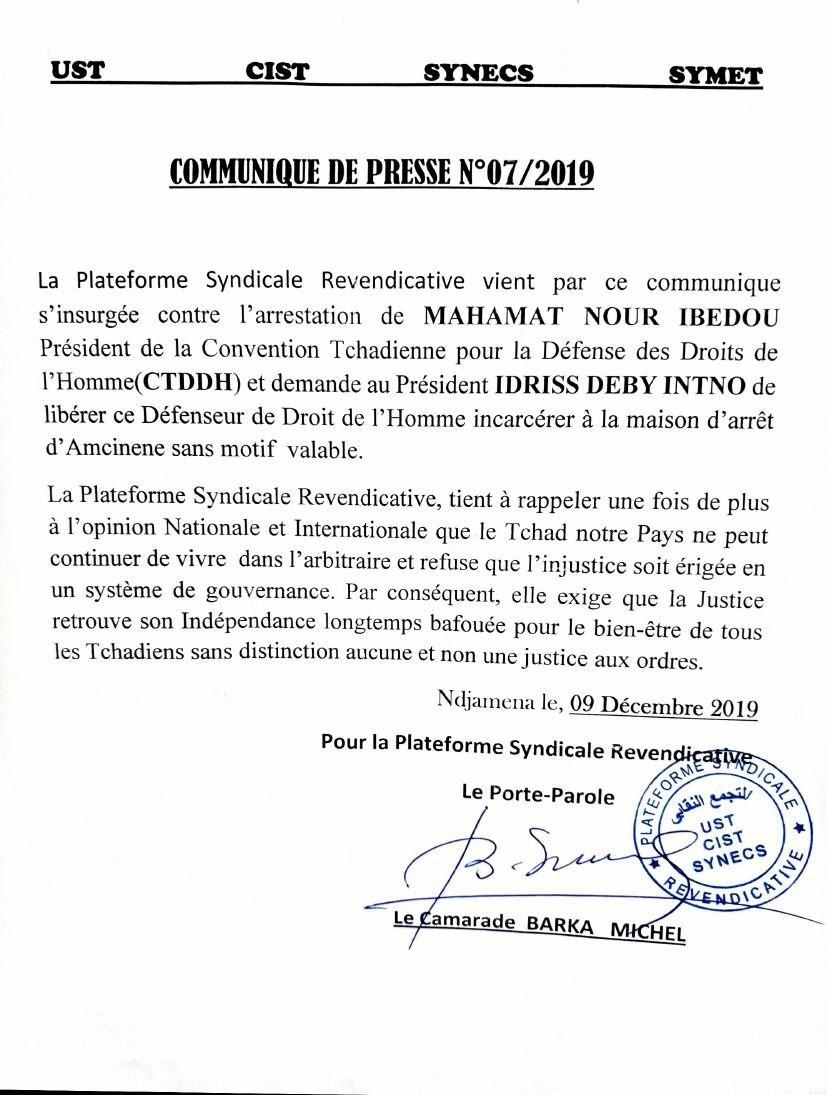 Affaire Ibedou: par le biais du Président de l'UST, Barka Michel, la plateforme syndicale exige la libération du SG de la CTDDH