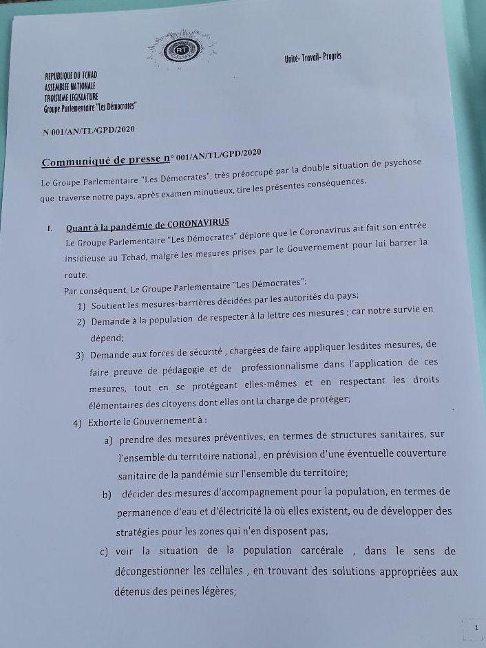 Tchad: le Groupe parlementaire exhorte le Gouvernement à prendre des mesures appropriées pour sécuriser les populations