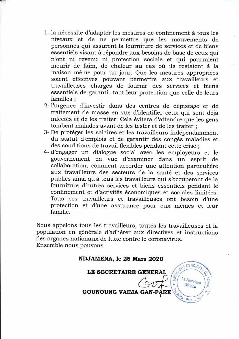 Covid-19 au Tchad: l'UST relève la défaillance des structures sanitaires et appelle les autorités à traiter la pandémie comme une urgence