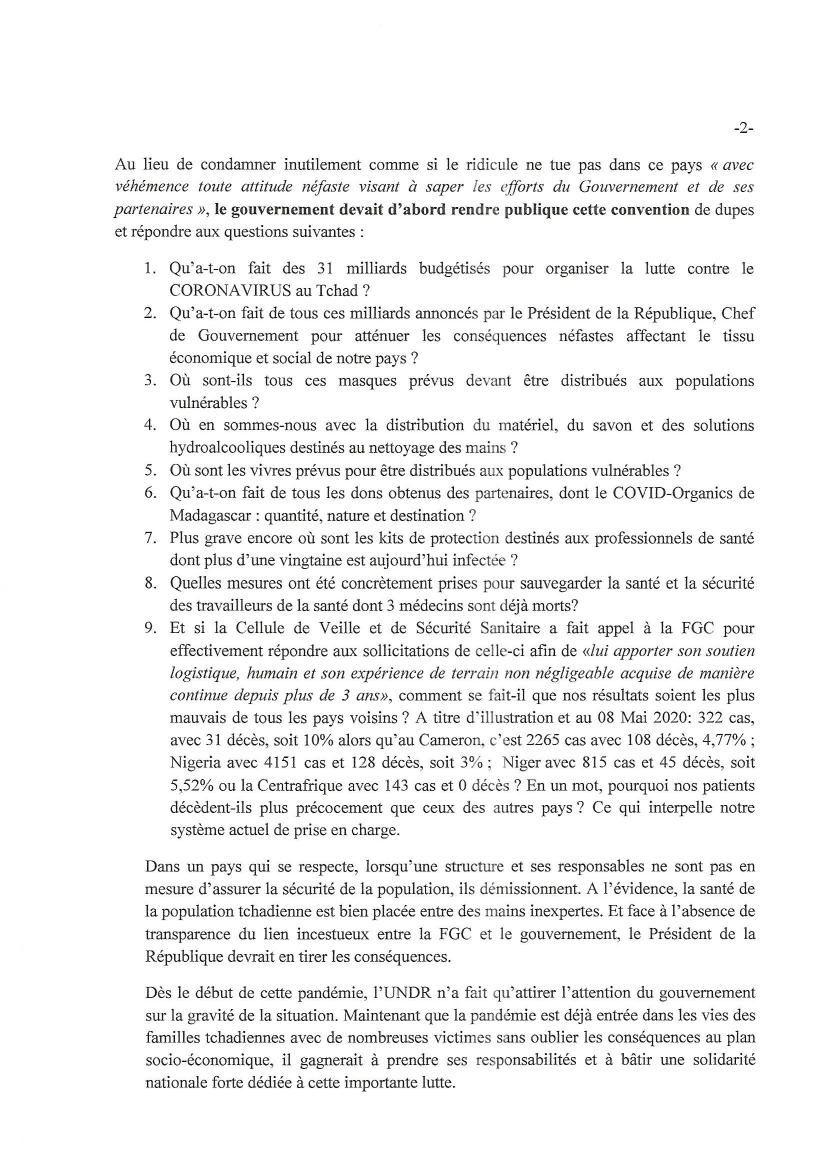 Tchad: l'Undr impute à Idriss Deby l'échec de la gestion de Covid 19