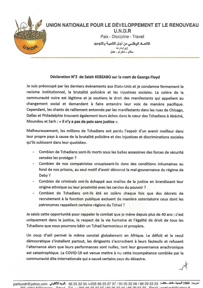 Affaire Georges Floyd aux Etats-Unis: le député tchadien, Saleh Kebzabo préoccupé réclame justice pour toutes les victimes
