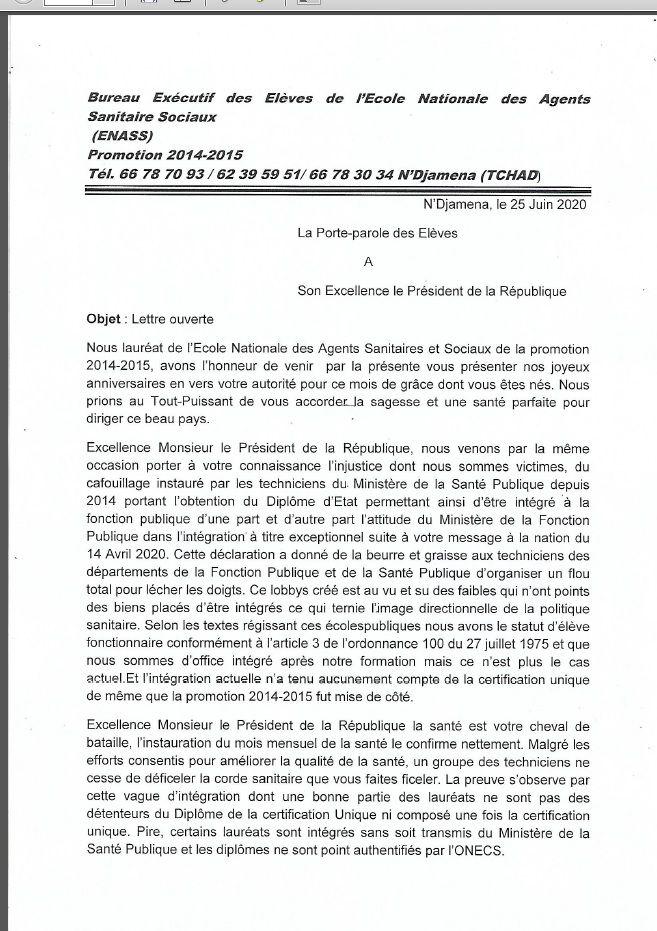 Tchad: lettre ouverte du bureau Exécutif de l'ENASS à Idriss Deby
