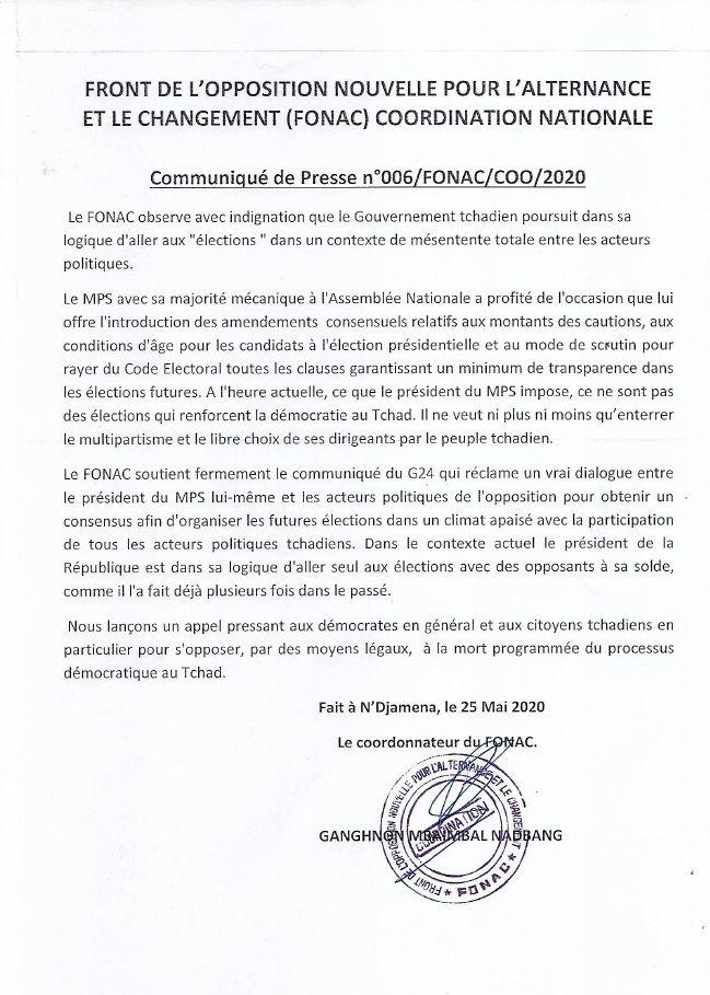 Tchad: le FONAC soutient fermement le G24